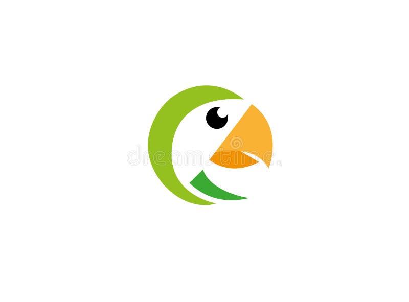 Cabeza del pájaro del loro con el pico amarillo para el logotipo stock de ilustración
