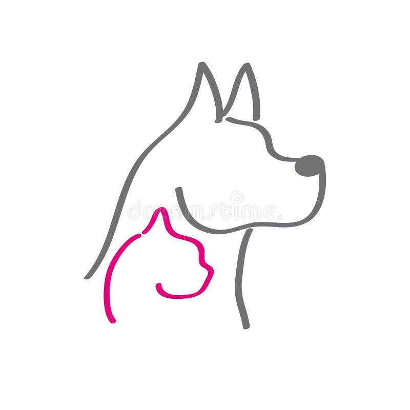 Cabeza del perro y del gato libre illustration