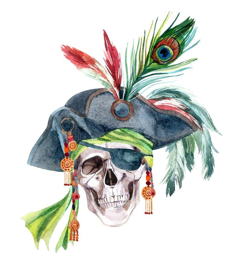 Cabeza del pirata de la acuarela stock de ilustración