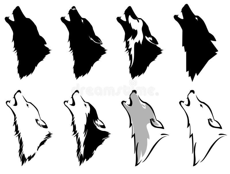 Cabeza del ` s del lobo stock de ilustración