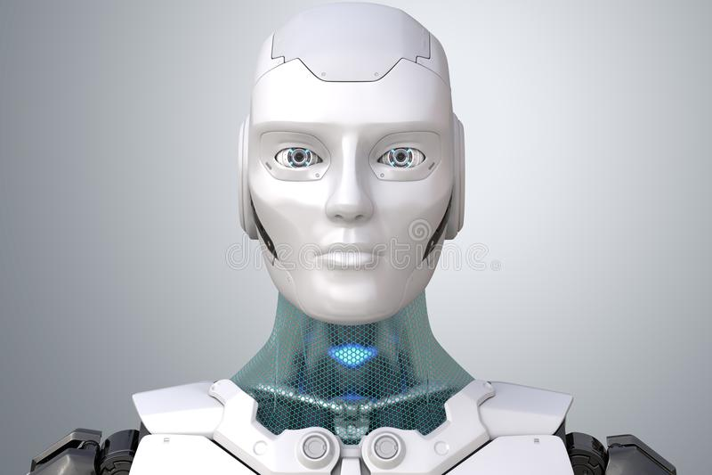Cabeza del ` s del robot en cara ilustración del vector