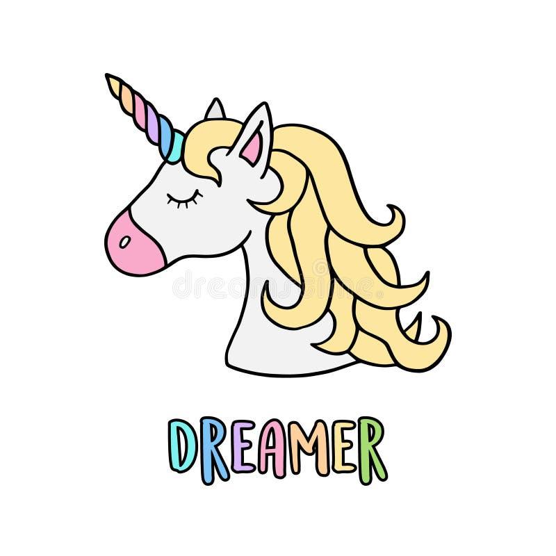 Cabeza del ` s del unicornio con el cuerno del arco iris con el soñador de la escritura stock de ilustración