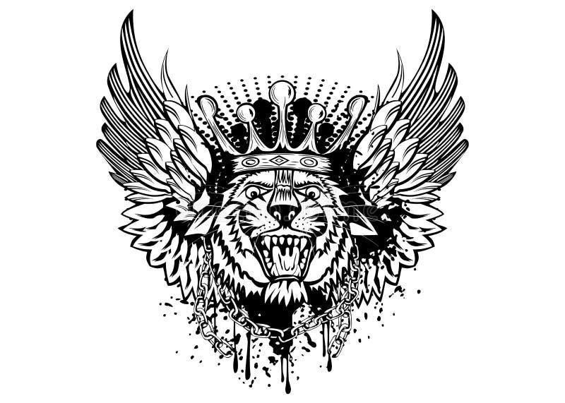 Cabeza del tigre con las alas ilustración del vector