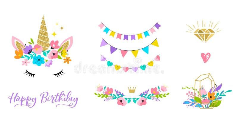 Cabeza del unicornio con las flores - la tarjeta y la camisa diseñan stock de ilustración