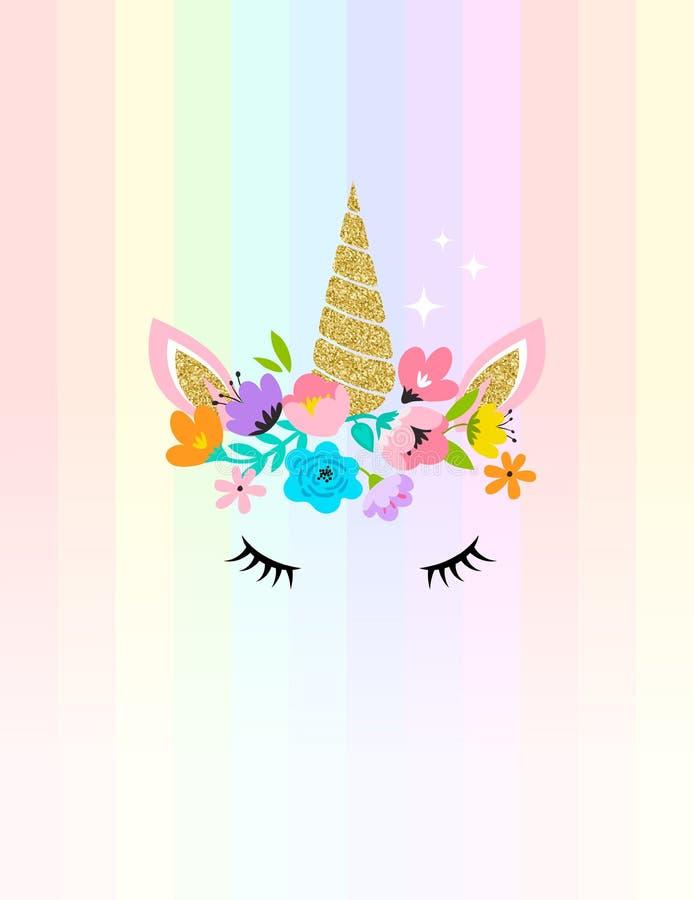 Cabeza del unicornio con las flores - la tarjeta y la camisa diseñan ilustración del vector