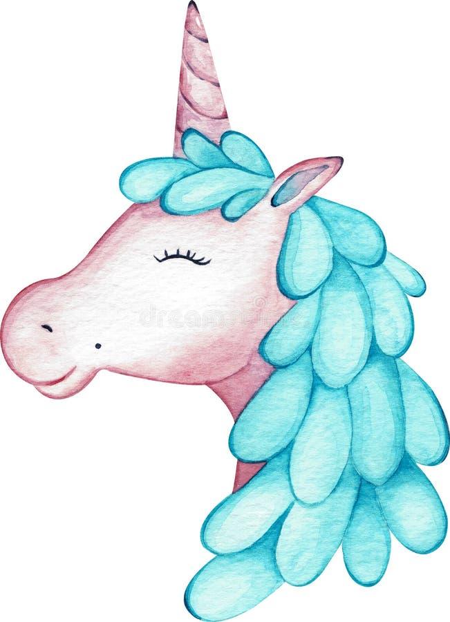 Cabeza del unicornio de la muchacha del rosa de la acuarela aislada en el fondo blanco Cara a mano de las mujeres de illustration libre illustration
