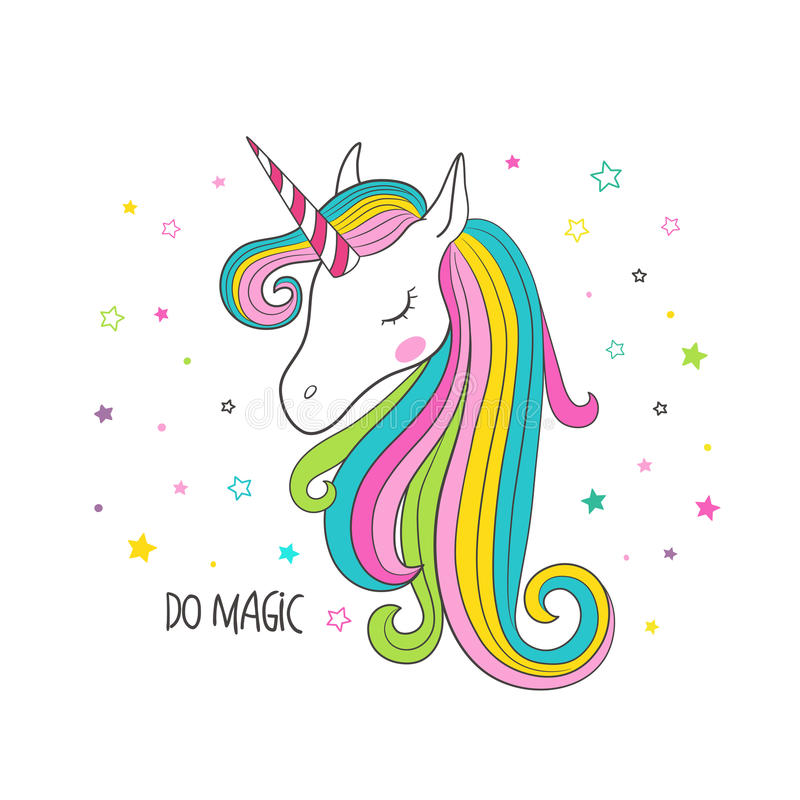 Cabeza del unicornio Ejemplo del vector para la ropa libre illustration