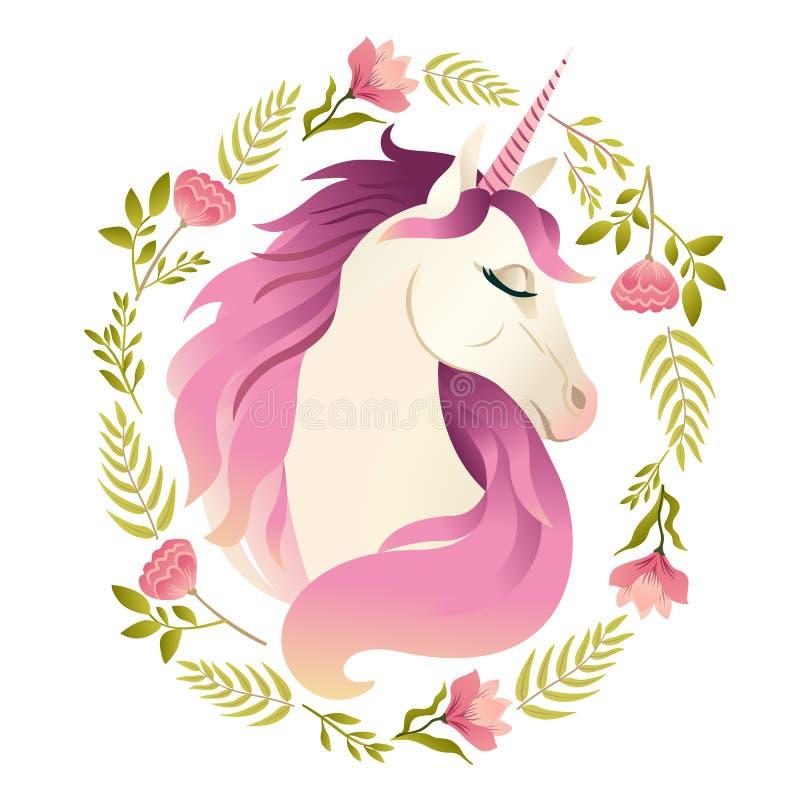 Cabeza del unicornio en la guirnalda de flores Ilustración de la acuarela libre illustration
