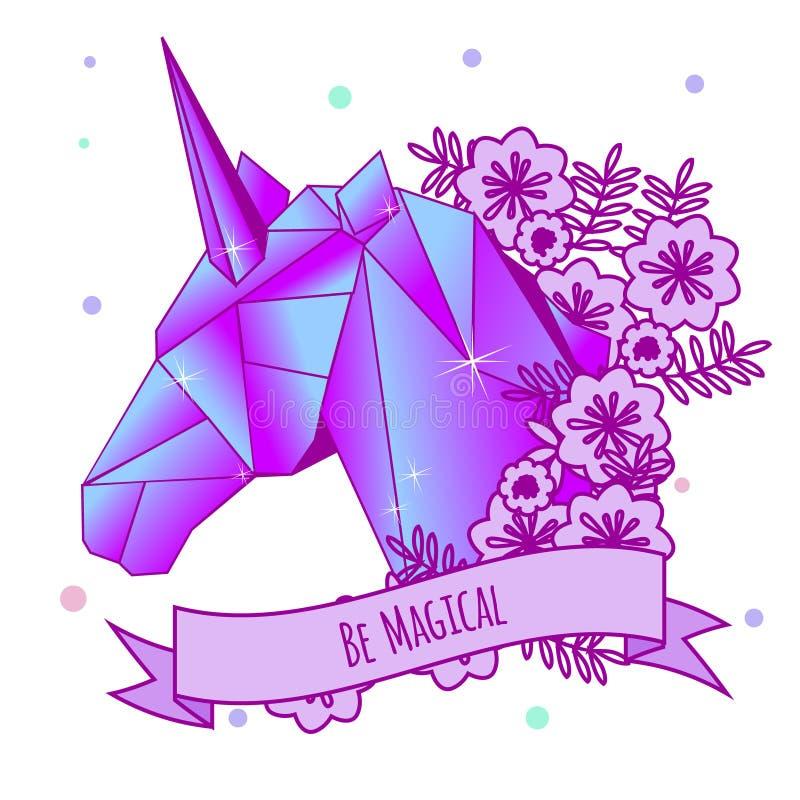 Cabeza del unicornio y lema de motivación en cinta Tatuaje de las muchachas Ejemplo del vector en colores góticos en colores past ilustración del vector