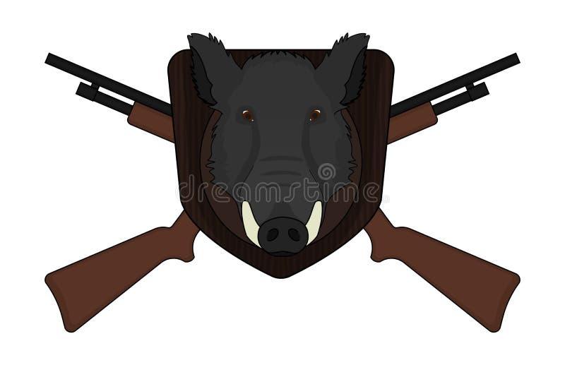 Cabeza del verraco del logotipo de la caza con las escopetas libre illustration