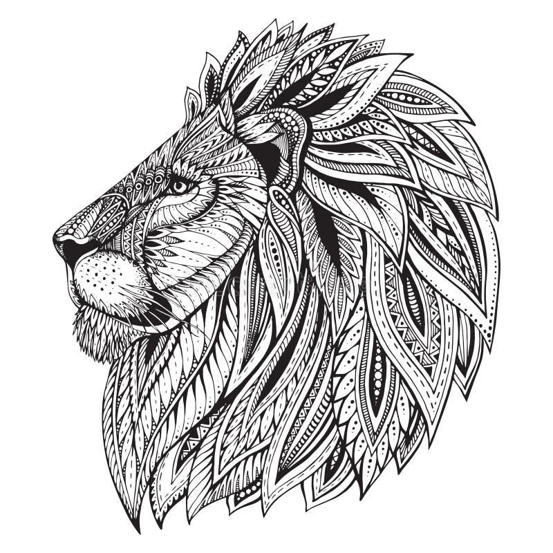Cabeza dibujada mano adornada modelada étnica del león stock de ilustración