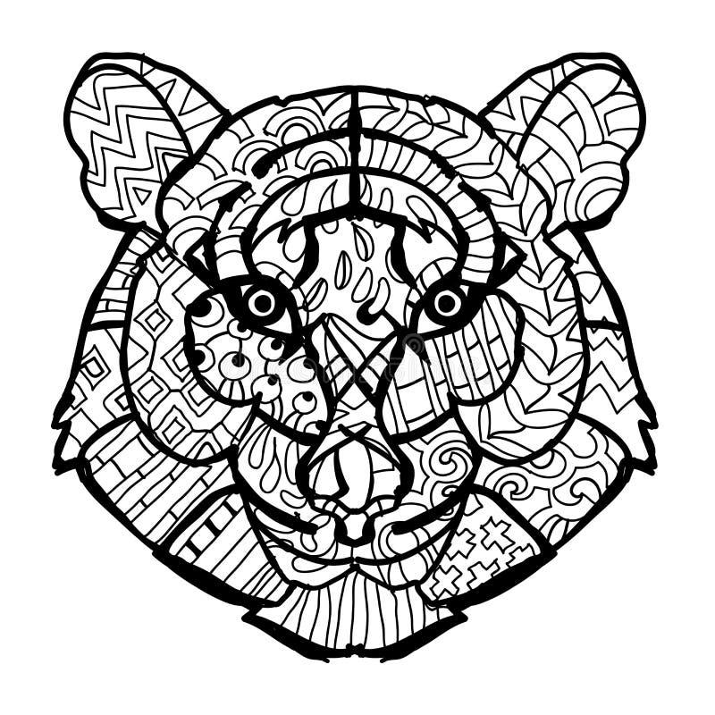 Cabeza Dibujada Mano Del Tigre Del Esquema Del Garabato Ilustración ...