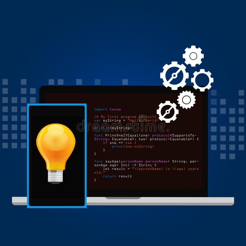 Cabeza elegante de programación e idea del teléfono del código del lenguaje de la aplicación móvil stock de ilustración