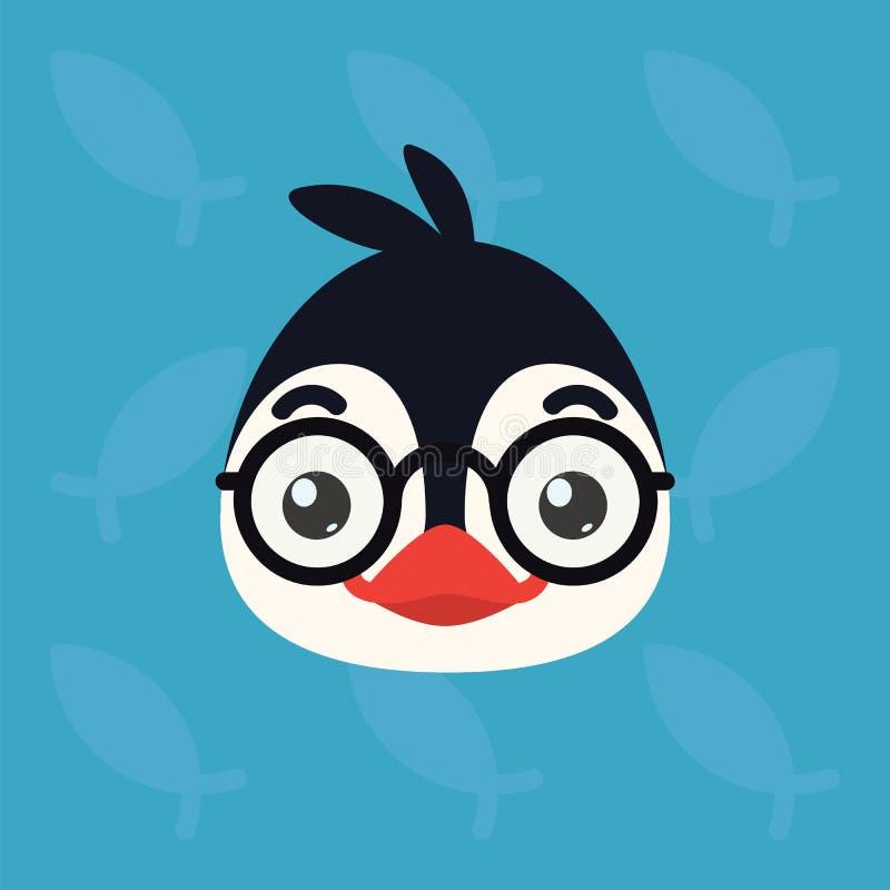 Cabeza emocional del pingüino El ejemplo del vector del pájaro ártico lindo muestra la emoción del empollón Emoji elegante Icono  ilustración del vector