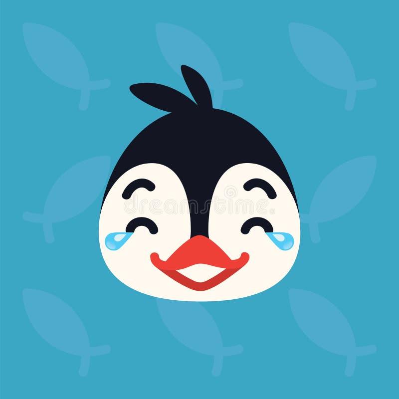 Cabeza emocional del pingüino El ejemplo del vector del pájaro ártico lindo muestra el nicker con la emoción de los rasgones De l libre illustration