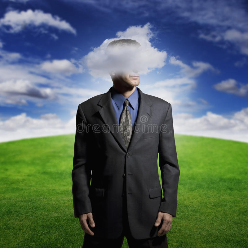 Cabeza en las nubes fotografía de archivo libre de regalías