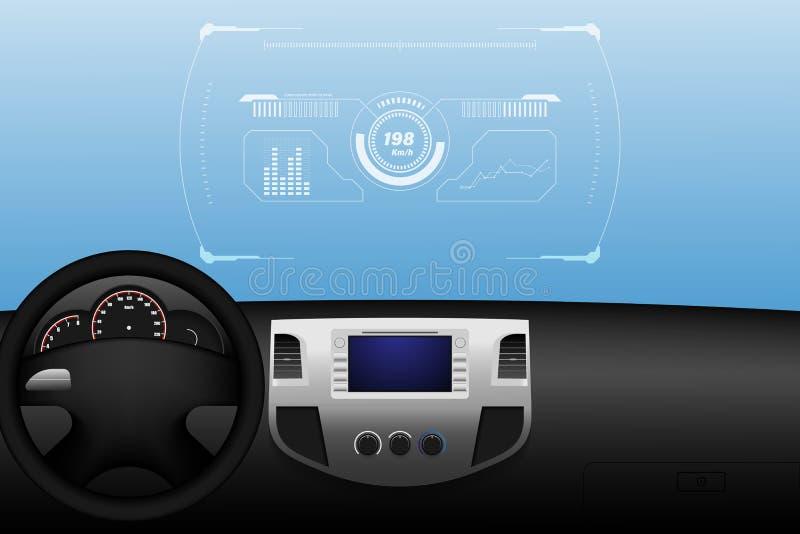 Cabeza encima de la exhibición HUD y de las diversas exhibiciones en el interior del vehículo, ejemplo eps10 del vector stock de ilustración