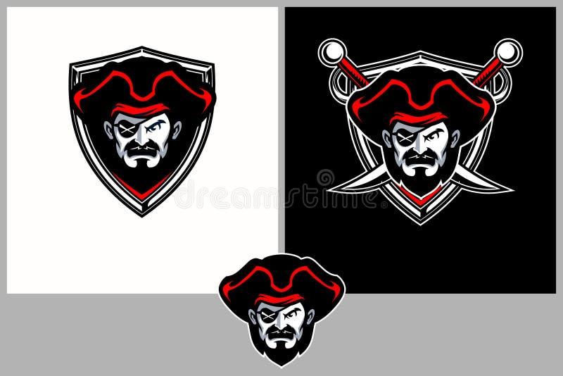 Cabeza enojada asombrosa y única de la historieta del pirata con la plantilla de la insignia del vector del escudo ilustración del vector