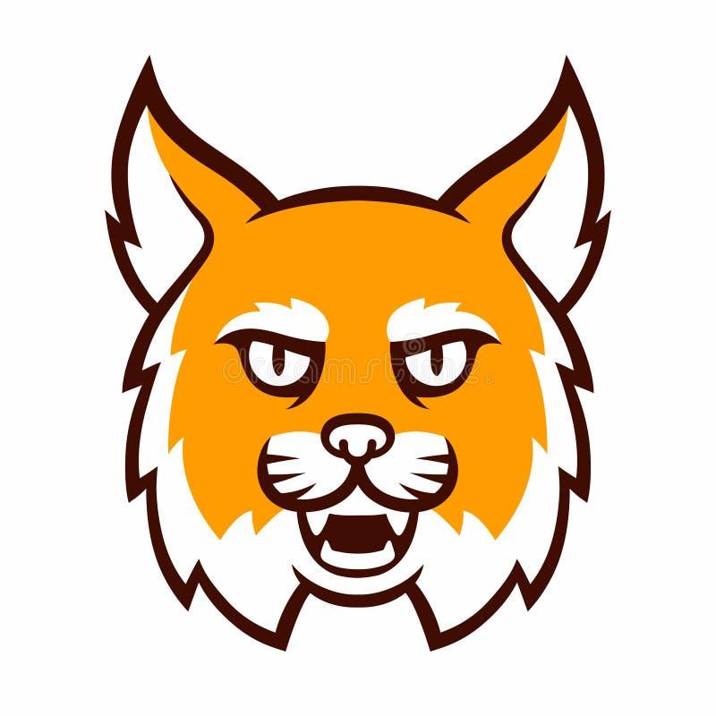 Cabeza enojada de la mascota del lince ilustración del vector