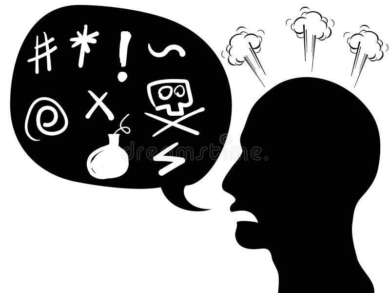 Cabeza enojada de la persona con la burbuja del discurso stock de ilustración