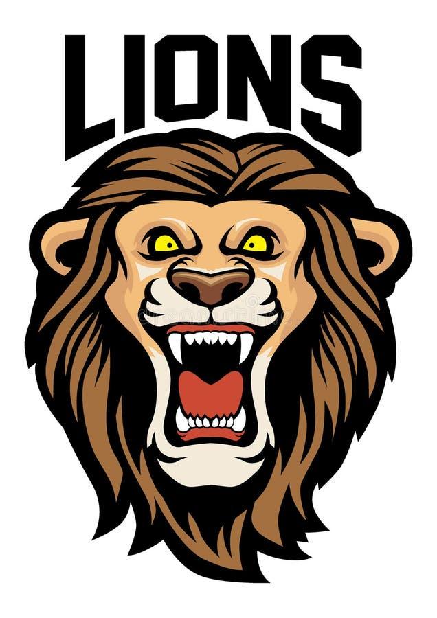 Cabeza enojada del león stock de ilustración