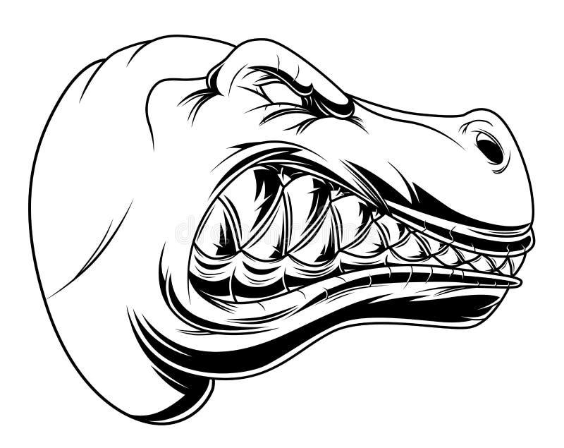 Cabeza enojada del tiranosaurio ilustración del vector