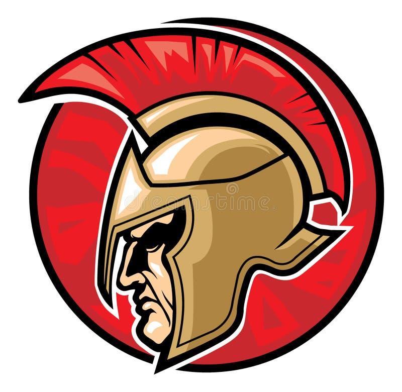Cabeza espartano del guerrero  stock de ilustración