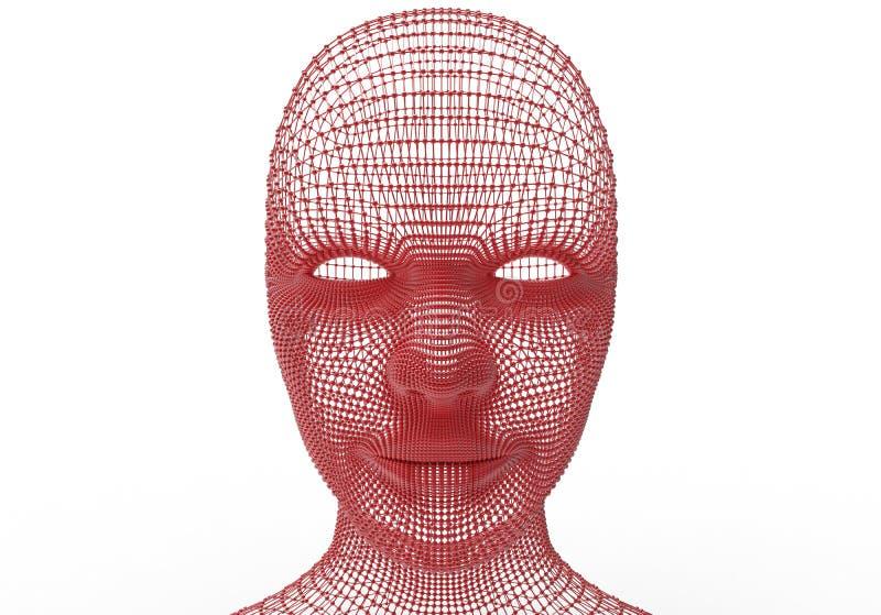 Cabeza femenina atada con alambre stock de ilustración