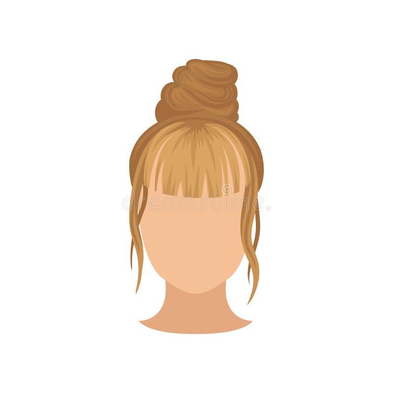 Cabeza femenina con el peinado de moda, el bollo superior y la explosión larga Peinado de moda Vector plano para el cartel de la  stock de ilustración