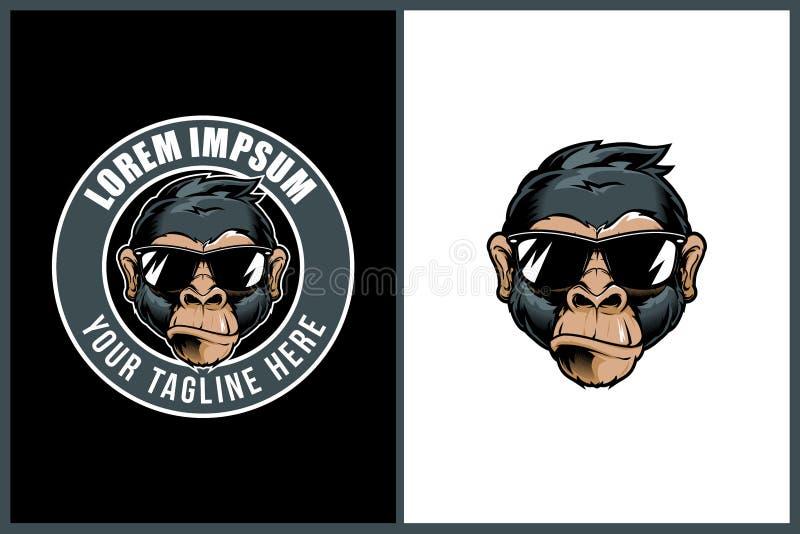 Cabeza fresca de la historieta del mono con la plantilla redonda del logotipo de la insignia del vector de los sunglass ilustración del vector