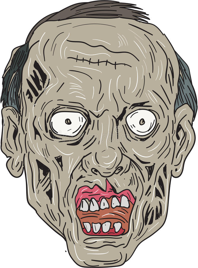 Cabeza Front Drawing del zombi stock de ilustración