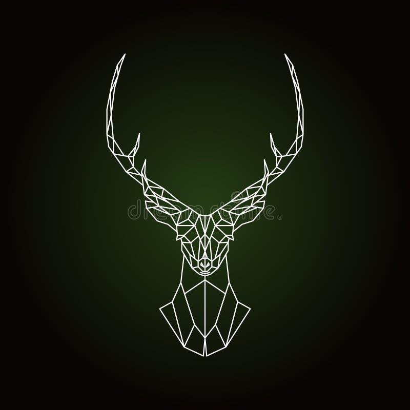 Cabeza geométrica de los ciervos en fondo verde oscuro ilustración del vector