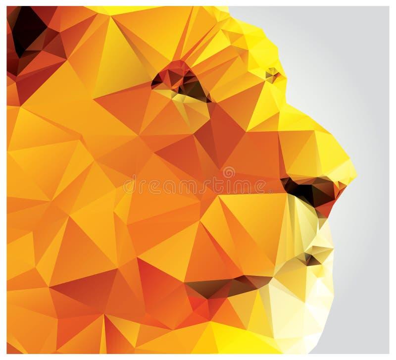 Cabeza geométrica del león del polígono, modelo del triángulo libre illustration