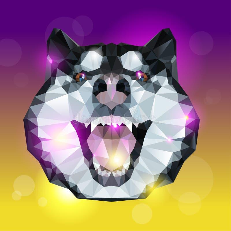 Cabeza geométrica del perro fornido con el fondo brillante stock de ilustración