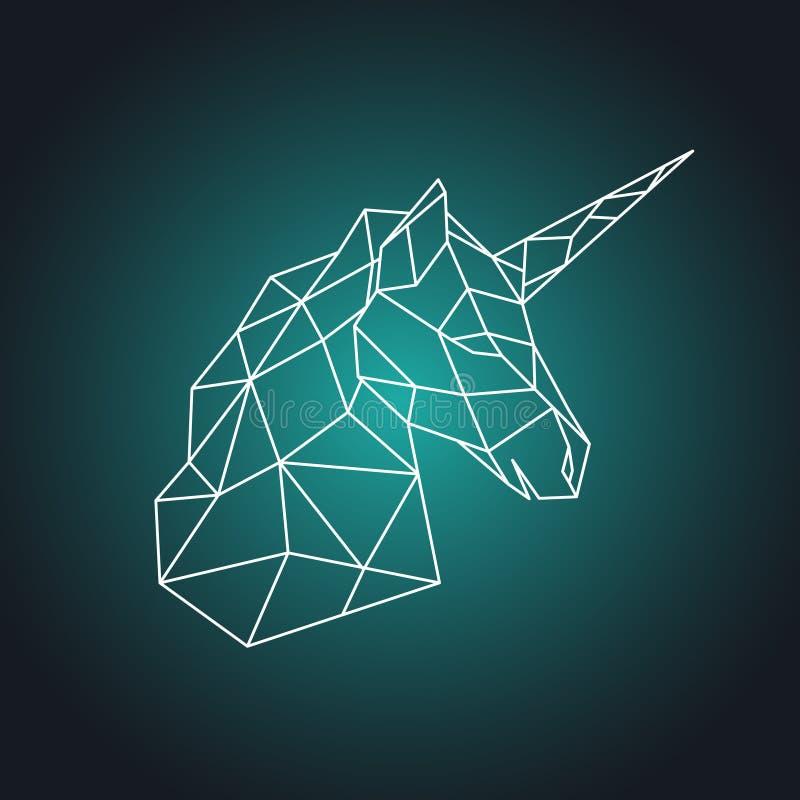Cabeza geométrica del unicornio Vista lateral libre illustration