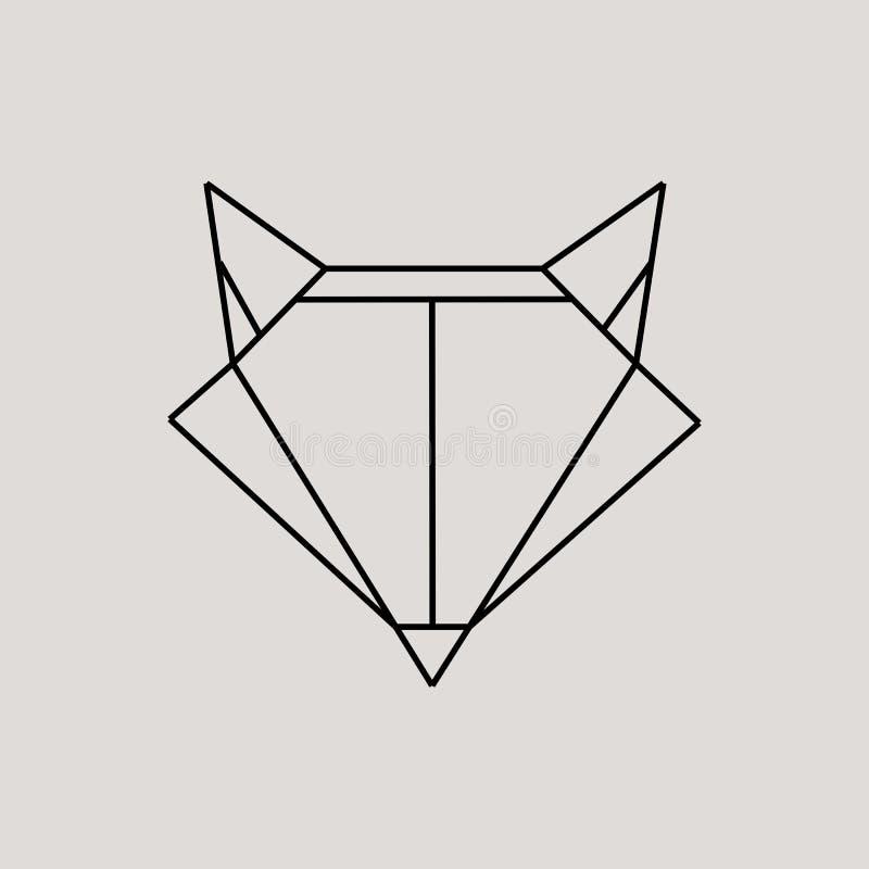 Cabeza geométrica del zorro aislada en el ejemplo gris del elemento del diseño del vector del vintage del fondo imagenes de archivo