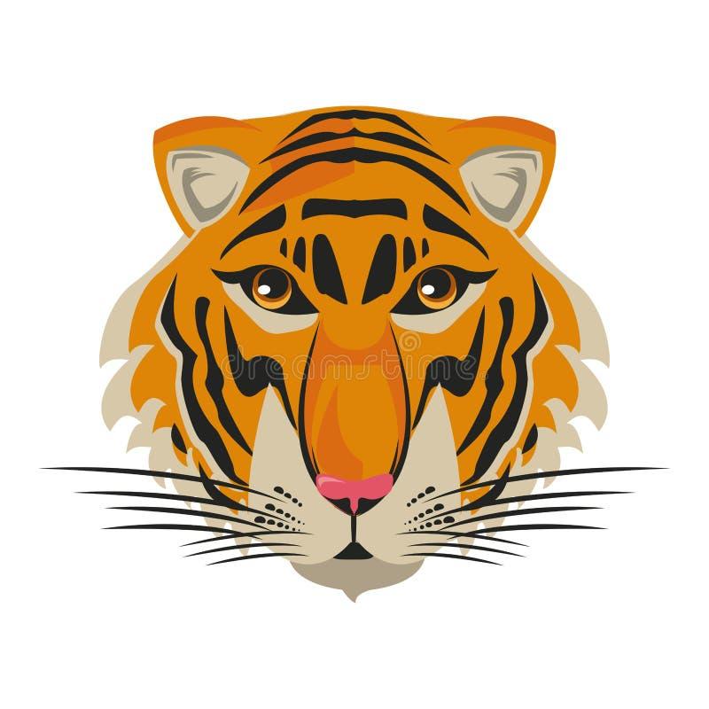 Cabeza hermosa del tigre stock de ilustración