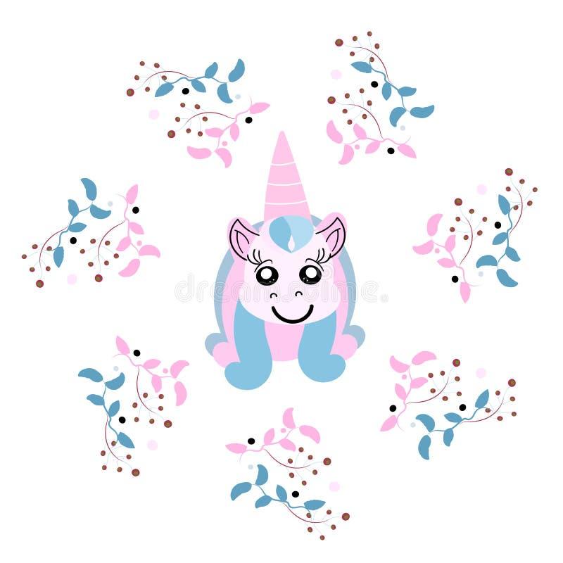 Cabeza hermosa del unicornio con el marco floral, magia ilustración del vector