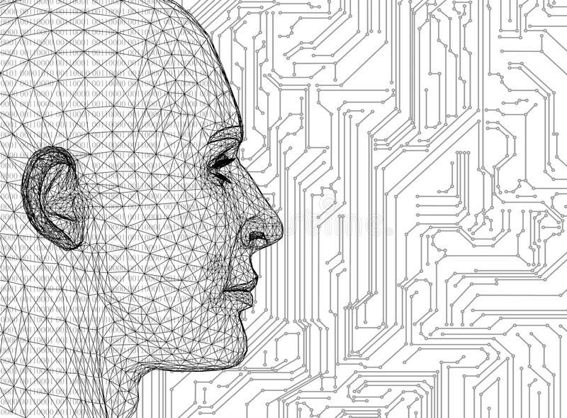 Cabeza humana abstracta con la placa de circuito ilustración del vector