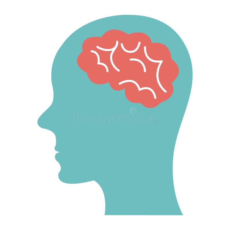 cabeza humana azul en la vista lateral y el cerebro, gráfico ilustración del vector