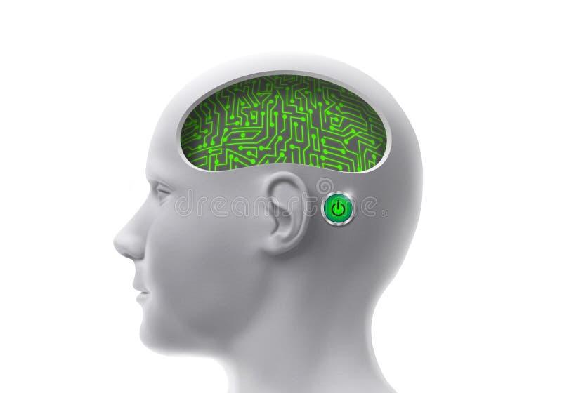 Cabeza humana biónica con los circuitos integrados y los mecanismos en el cerebro stock de ilustración