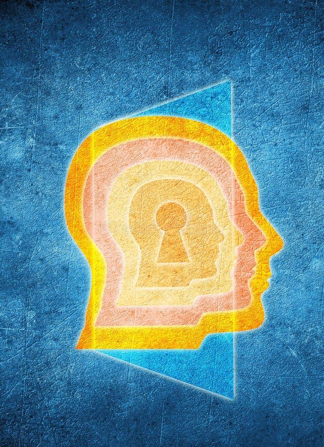 Cabeza humana coloreada con el ojo de la cerradura y la puerta libre illustration