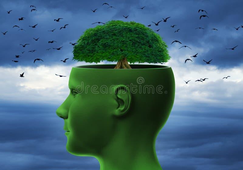 Cabeza humana con el árbol imagen de archivo