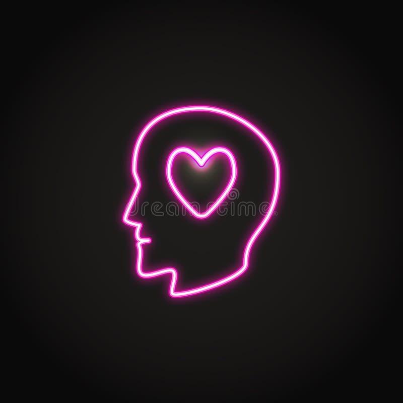 Cabeza humana con el icono de neón que brilla intensamente del corazón libre illustration