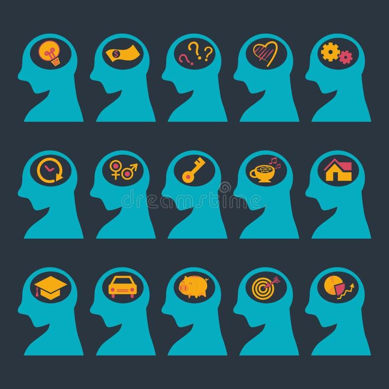 Cabeza humana con el icono de pensamiento libre illustration