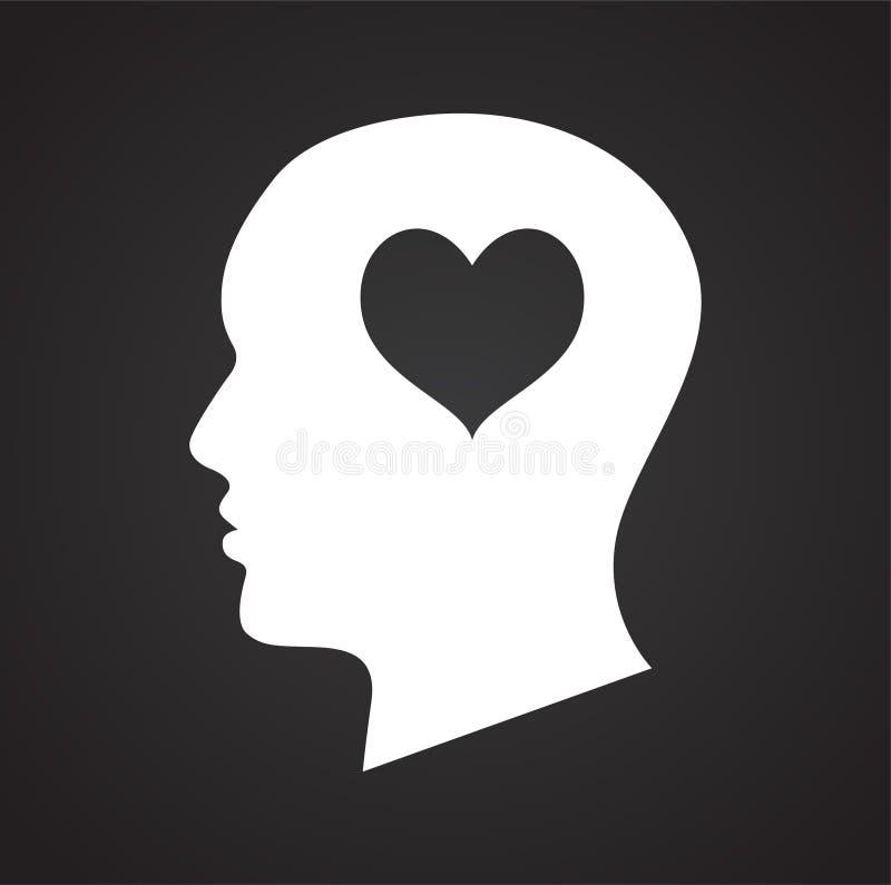 Cabeza humana con el icono del corazón en el fondo negro para el gráfico y el diseño web, muestra simple moderna del vector Conce libre illustration