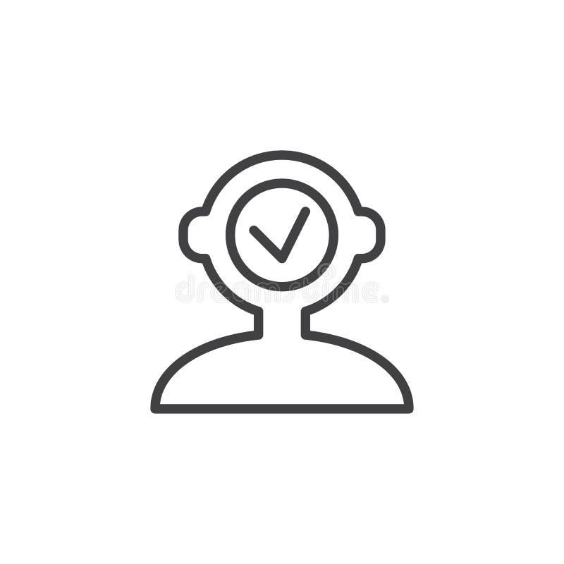 Cabeza humana con el icono del esquema de la marca de verificación libre illustration