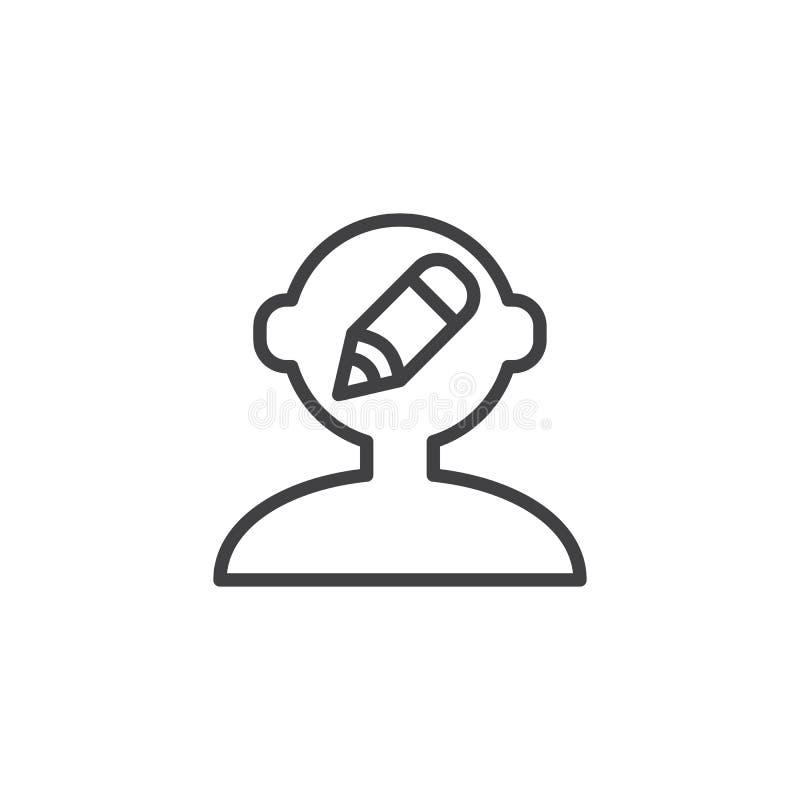 Cabeza humana con el icono del esquema del lápiz stock de ilustración