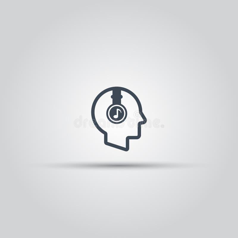 Cabeza humana con el icono del esquema del vector de los auriculares ilustración del vector