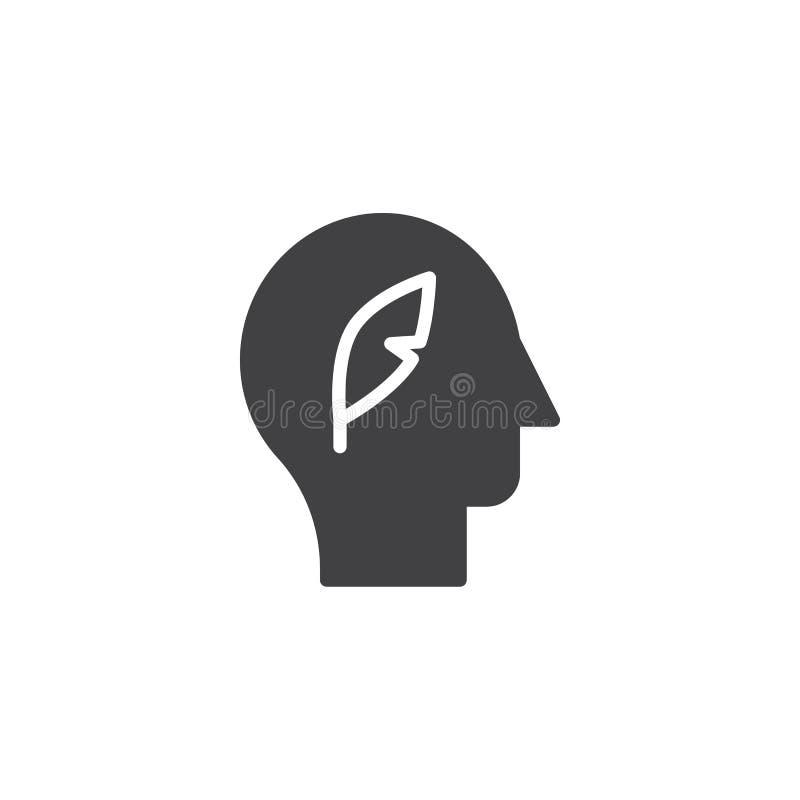 Cabeza humana con el icono del vector de la pluma de la pluma libre illustration